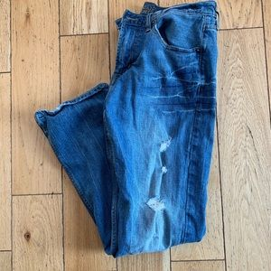 American Eagle distressed classic bootcut jeans